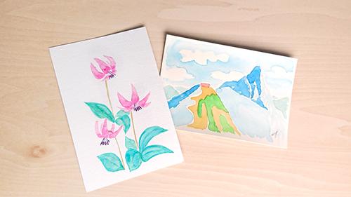 山マイマイの絵手紙