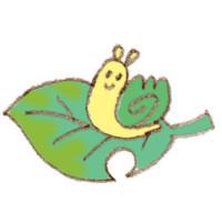 山マイマイと葉っぱ